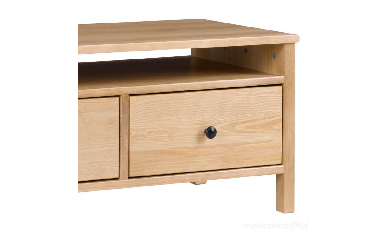 Szeroki stolik RTV z litego drewna sosnowego należący do kolekcji Prestige