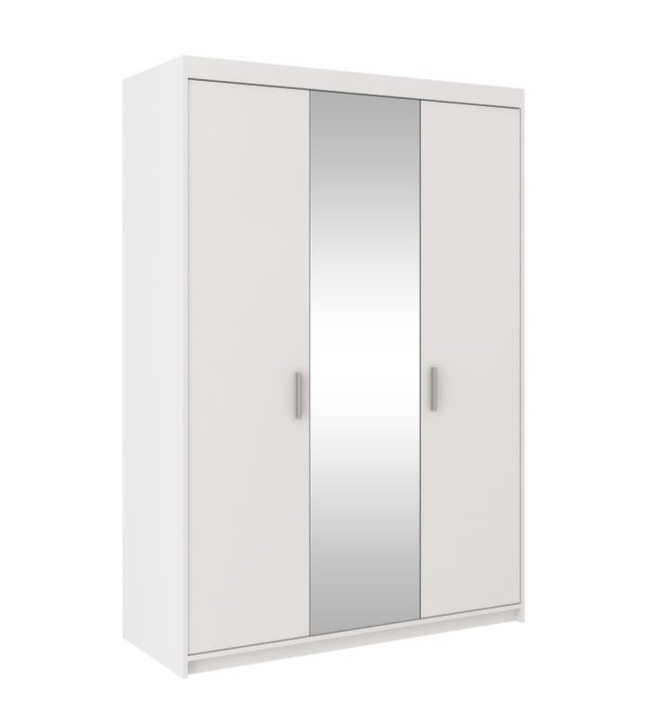 Biała szafa trzydrzwiowa z lutrem ELENA 3D z dostępną nadstawką