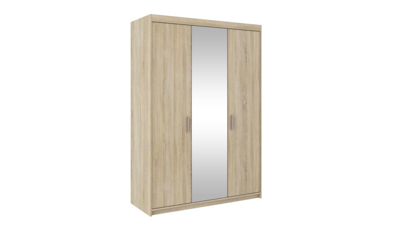Jasnobrązowa szafa trzydrzwiowa z lustrem ELENA 3D z dostępną nadstawką