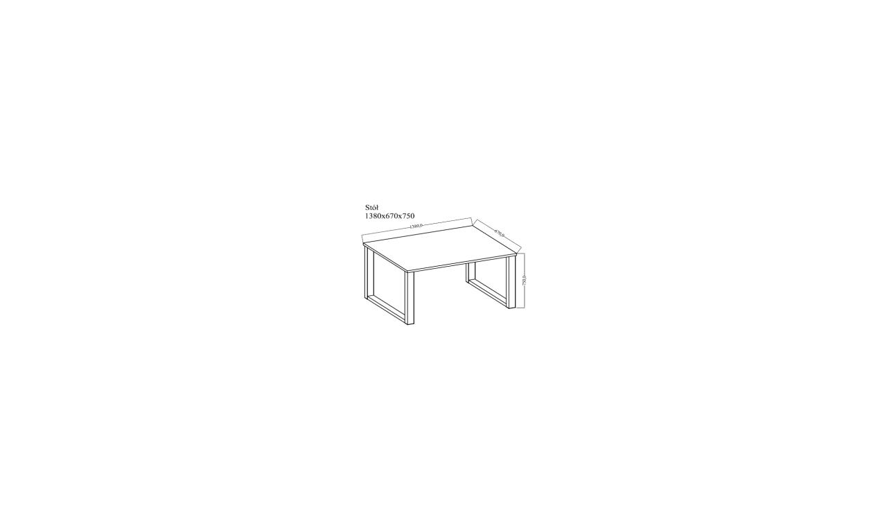 Stół loftowy (138x90) w dwóch odcieniach blatu do wyboru