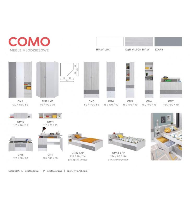 Łóżko (90x200) do pokoju młodzieżowego COMO CM12
