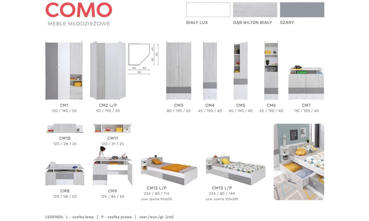 Łóżko (120x200) do pokoju młodzieżowego COMO CM13