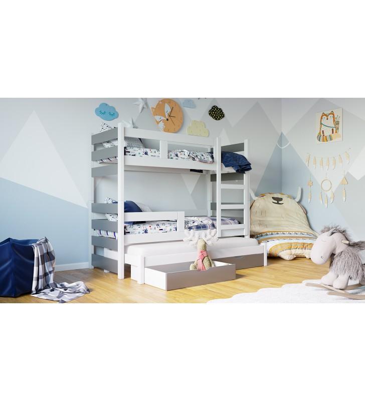 Biało-szare, trzyosobowe łóżeczko KMLK18