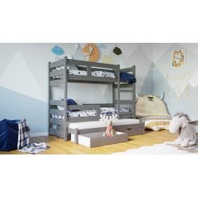 Szare, trzyosobowe łóżeczko KMLK18