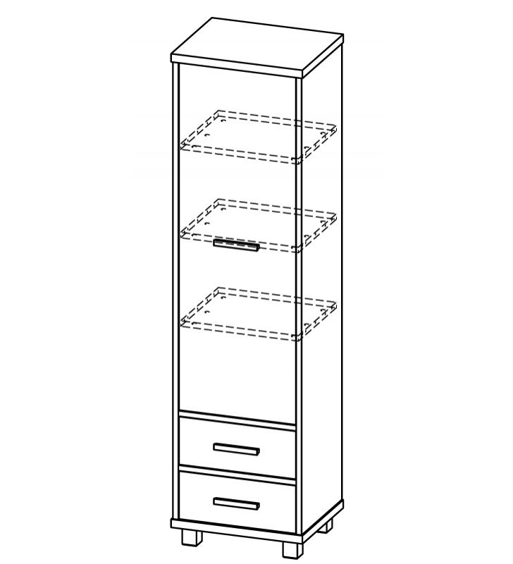 Regał zamknięty/wąska szafa z drewna sosnowego w stylu nowoczesnym ALAN AL6