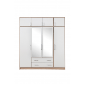 Szafa z białym frontem, lustrem i nadstawką SMART 1