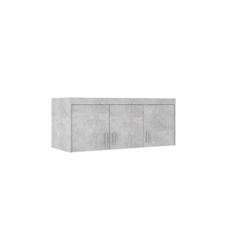 Szara szafa trzydrzwiowa z lustrem ELENA 3D z dostępną nadstawką