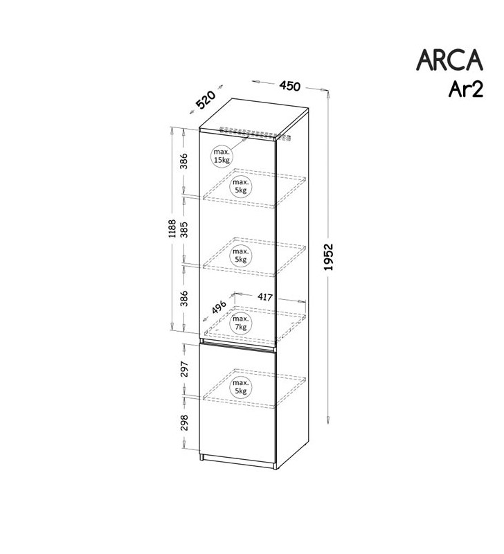 Wąska szafa/regał zamknięty w stylu nowoczesnym, dostępna w dwóch propozycjach kolorystycznych ARCA AR2