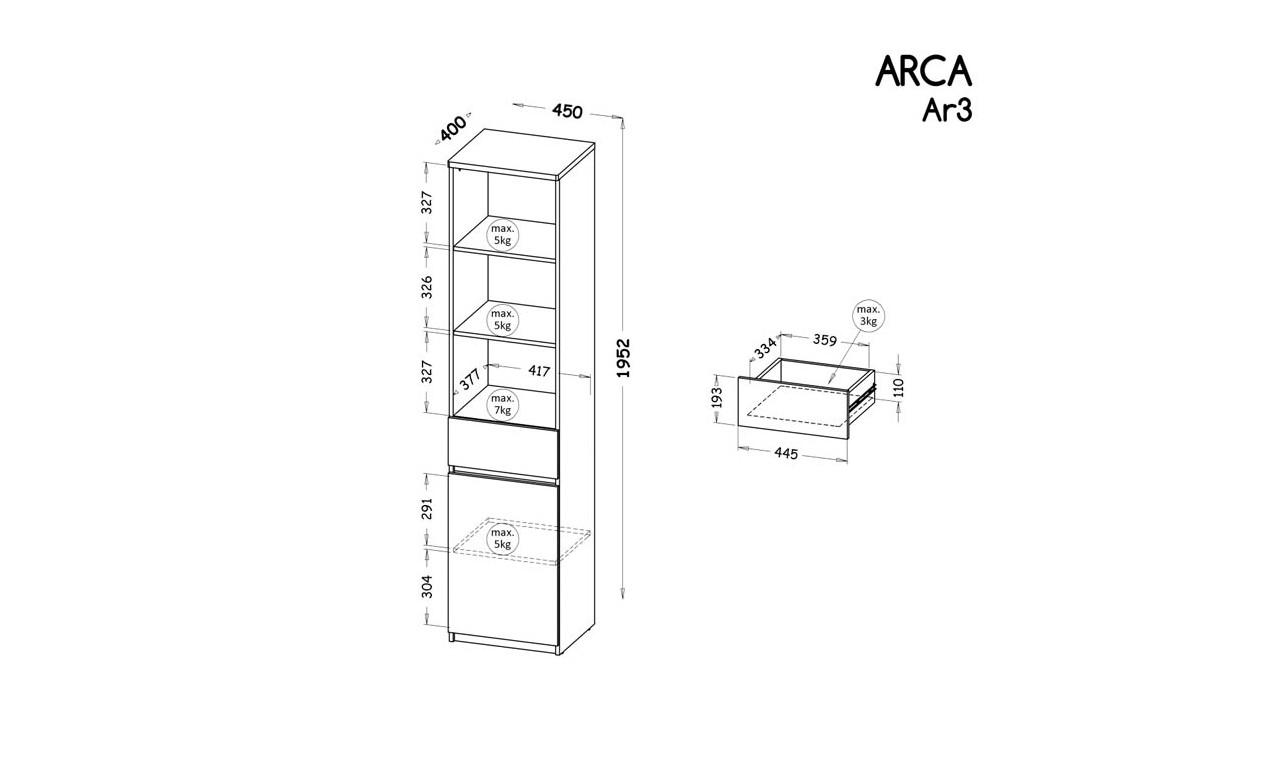 Regał półotwarty w stylu nowoczesnym, dostępny w dwóch propozycjach kolorystycznych ARCA AR3