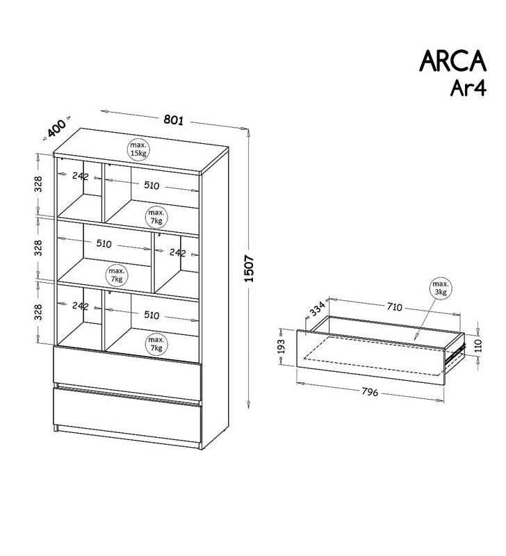 Szeroki regał półotwarty w stylu nowoczesnym, dostępny w dwóch propozycjach kolorystycznych ARCA AR4