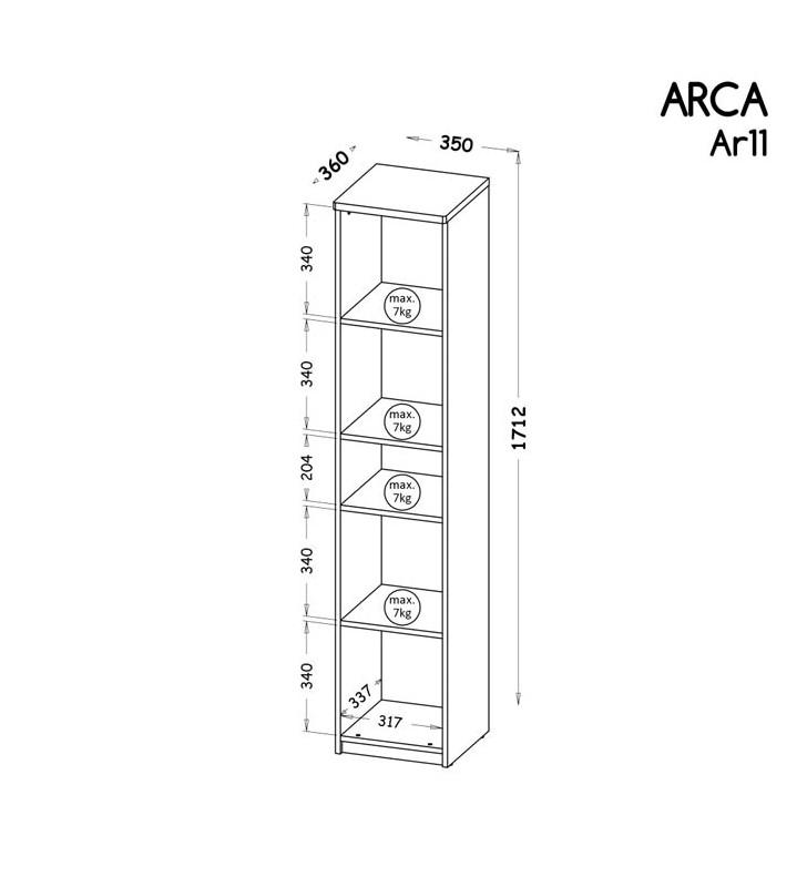 Regał w stylu nowoczesnym, dostępny w dwóch propozycjach kolorystycznych ARCA AR11