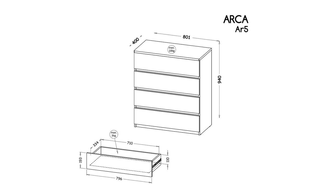 Komoda w stylu nowoczesnym, dostępna w dwóch propozycjach kolorystycznych ARCA AR5