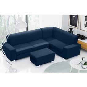 Niebieski narożnik z pufą, funkcją spania i pojemnikiem na pościel KN43t2331