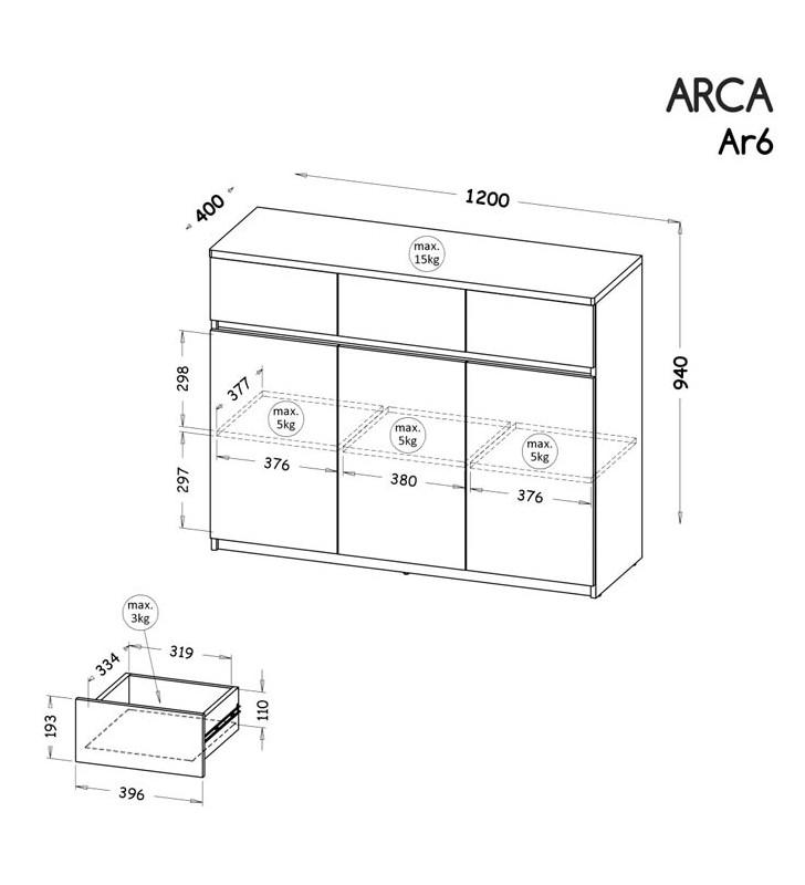 Szeroka komoda w stylu nowoczesnym, dostępna w dwóch propozycjach kolorystycznych ARCA AR6