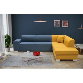 Żółto-niebieski prawy narożnik z funkcją spania i pojemnikiem na pościel D2K