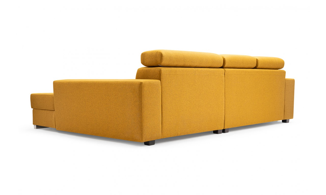 Żółty narożnik z funkcją spania i pojemnikiem na pościel Mexico de lux