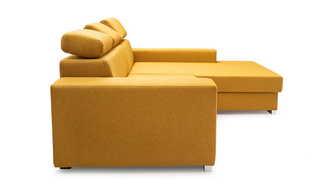Pomarańczowy narożnik z funkcją spania i pojemnikiem na pościel Mexico De Lux