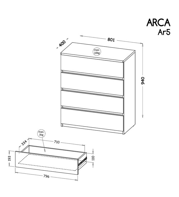 Zestaw mebli do pokoju młodzieżowego, dostępny w dwóch wariantach kolorystycznych ARCA E