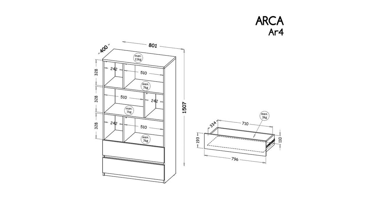 Zestaw mebli do pokoju młodzieżowego, dostępny w dwóch wariantach kolorystycznych ARCA F