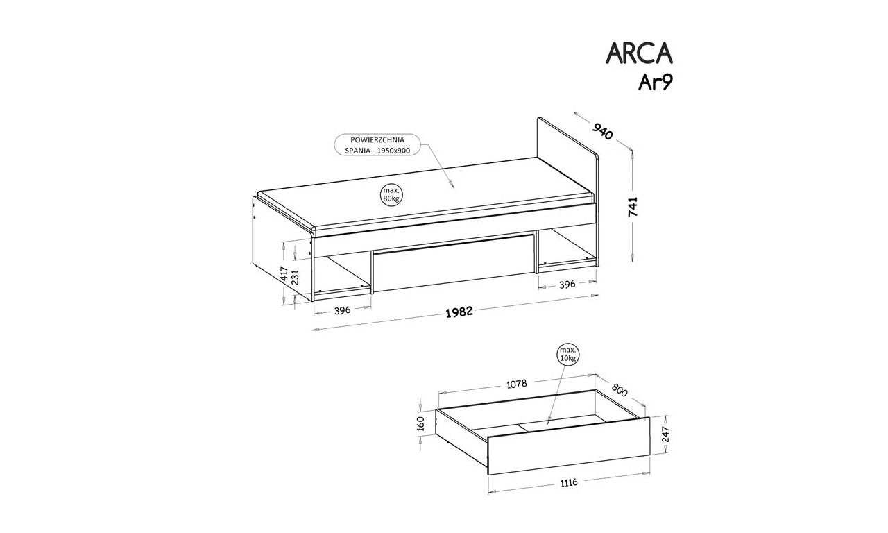 Zestaw mebli do pokoju młodzieżowego, dostępny w dwóch wariantach kolorystycznych ARCA G