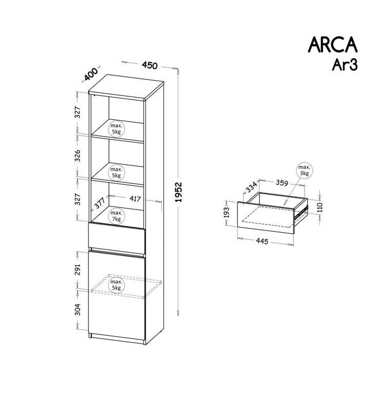 Zestaw mebli do pokoju młodzieżowego, dostępny w dwóch wariantach kolorystycznych ARCA H