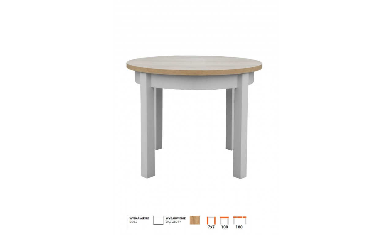 Stół bukowy (śr.100), rozkładany, dowolna kolorystyka, STL102/2