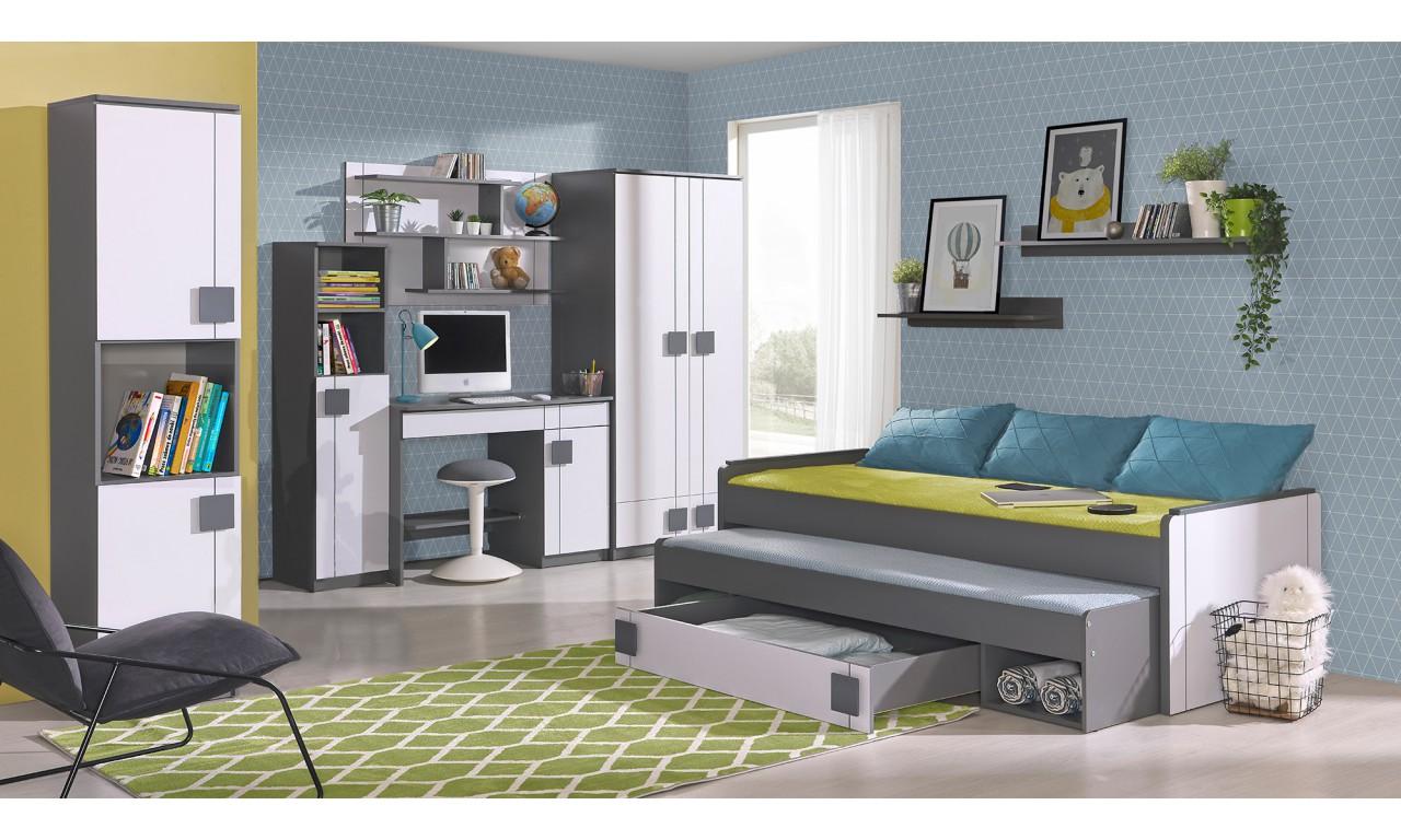 Biało-szare lub jasnobrązowe biurko narożne do pokoju starszego dziecka GUMI G11