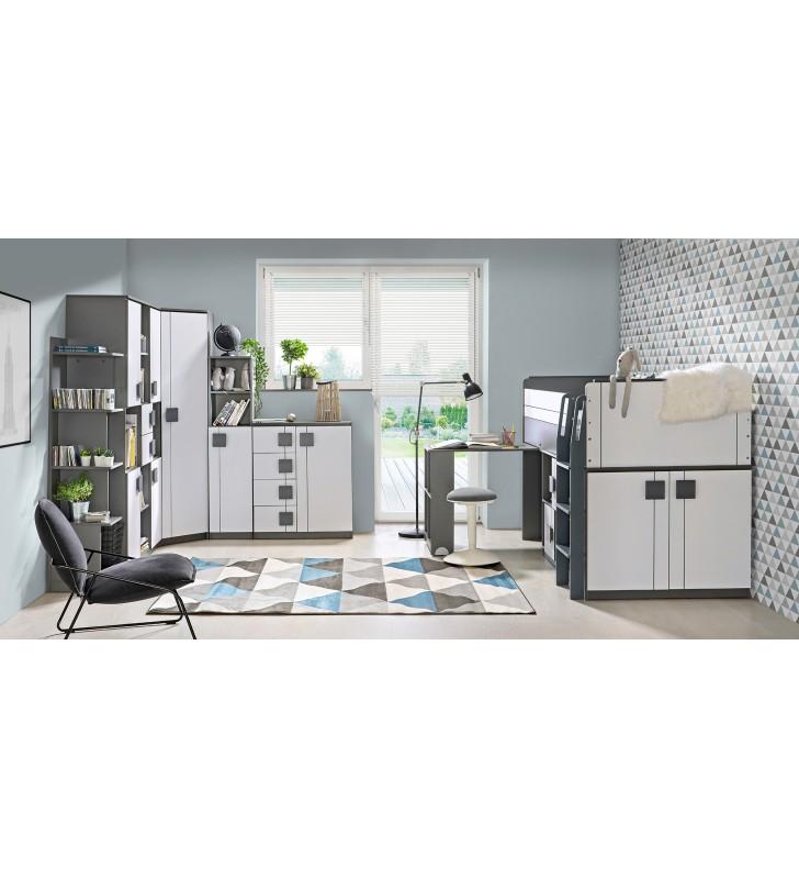Biało-szare lub jasnobrązowe łóżko piętrowe z szafką i biurkiem GUMI G15