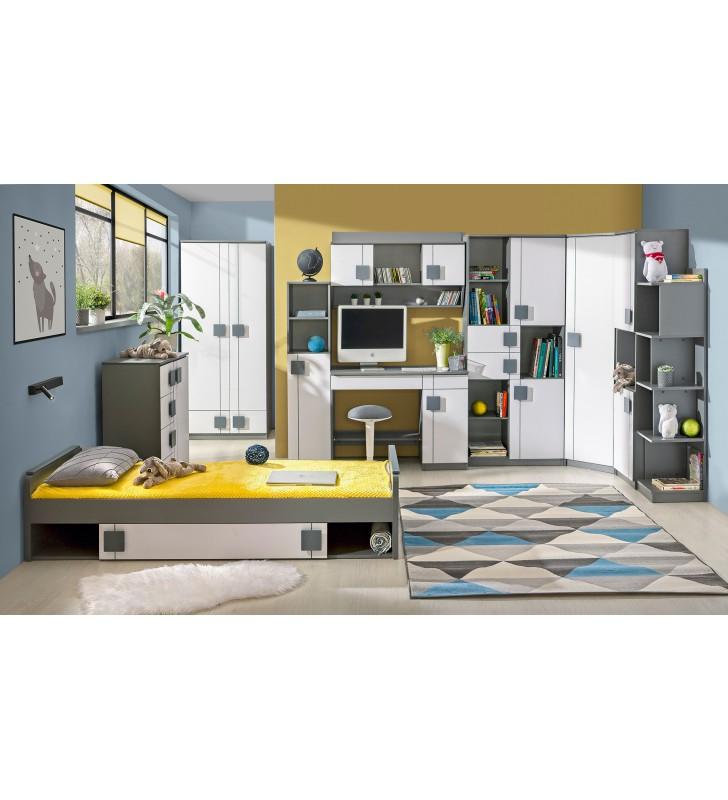 Biało-szare lub jasnobrązowe łóżko dwuosobowe do pokoju starszego dziecka GUMI G16