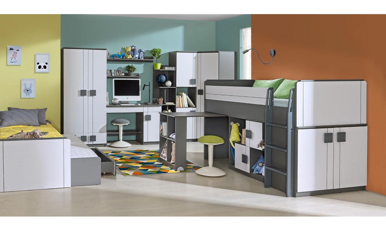 Biało-szare lub jasnobrązowe łóżko piętrowe z biurkiem i dwiema szafkami GUMI G19 (G15+G17)