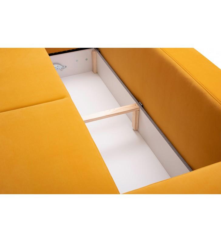 Żółty narożnik z dwoma pojemnikami na pościel i dwoma schowkami A2A
