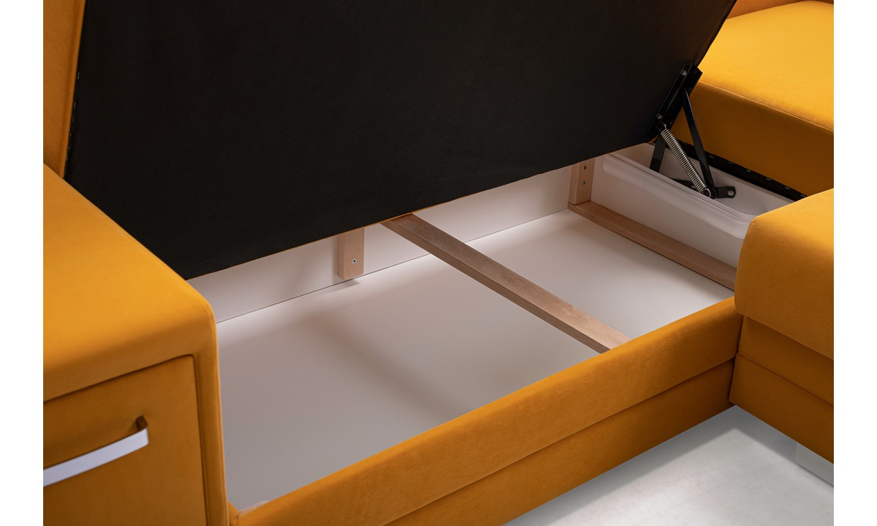 Narożnik w szarym kolorze z dwoma pojemnikami na pościel i dwoma schowkami A2A