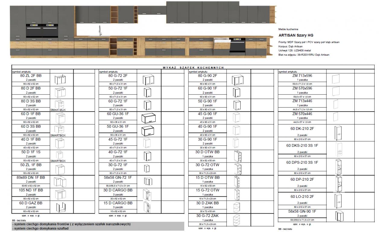 Szafka wisząca narożna ARTISAN szary połysk 58x58 GN-72 1F