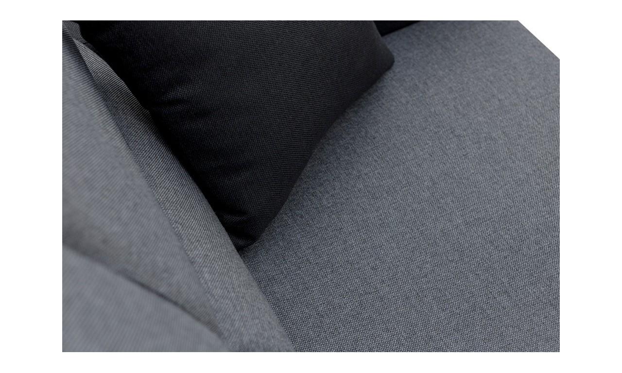 Błękitny narożnik z dwiema pufami, funkcją spania i pojemnikiem na pościel Wakiki