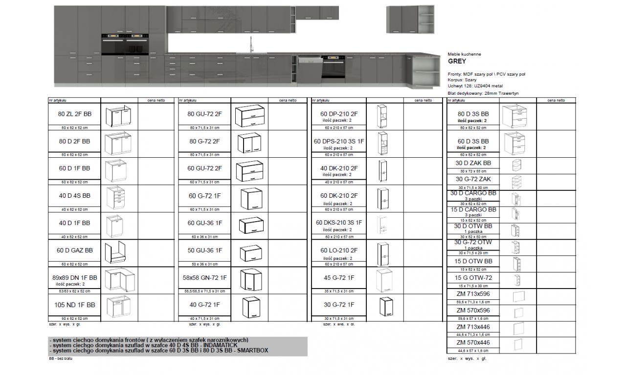Szafka stojąca GREY 60 DKS-210 3S 1F