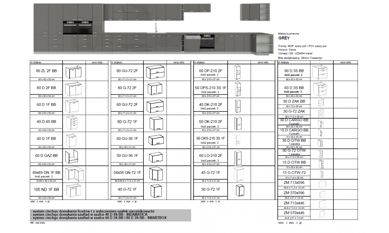 Szafka wisząca GREY 80 GU-72 2F
