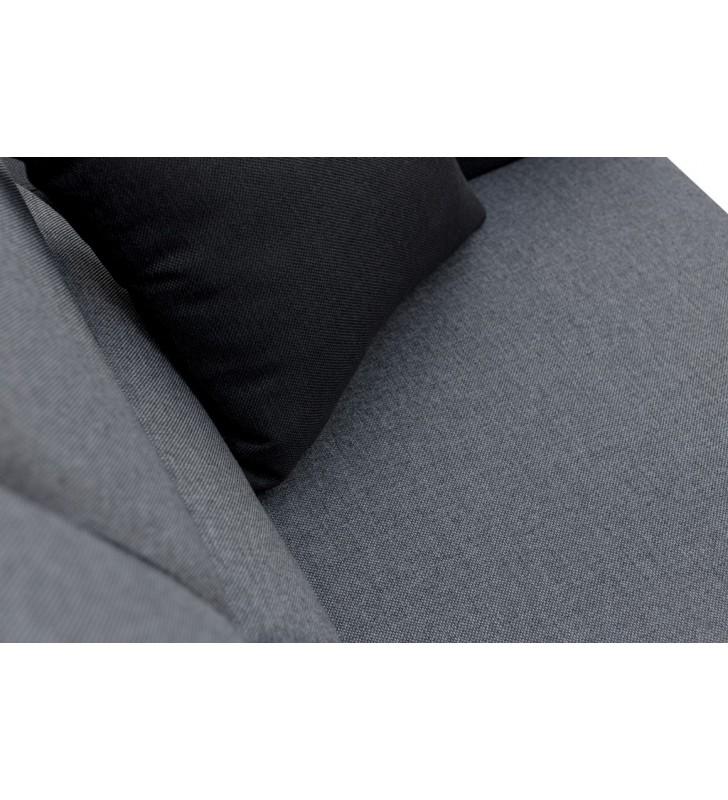 Szaro-czarny narożnik z dwiema pufami, funkcją spania i pojemnikiem na pościel Wakiki