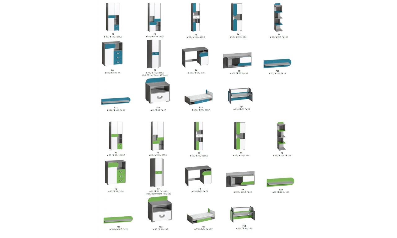 Regał w różnych kombinacjach kolorystycznych FUTURO F5