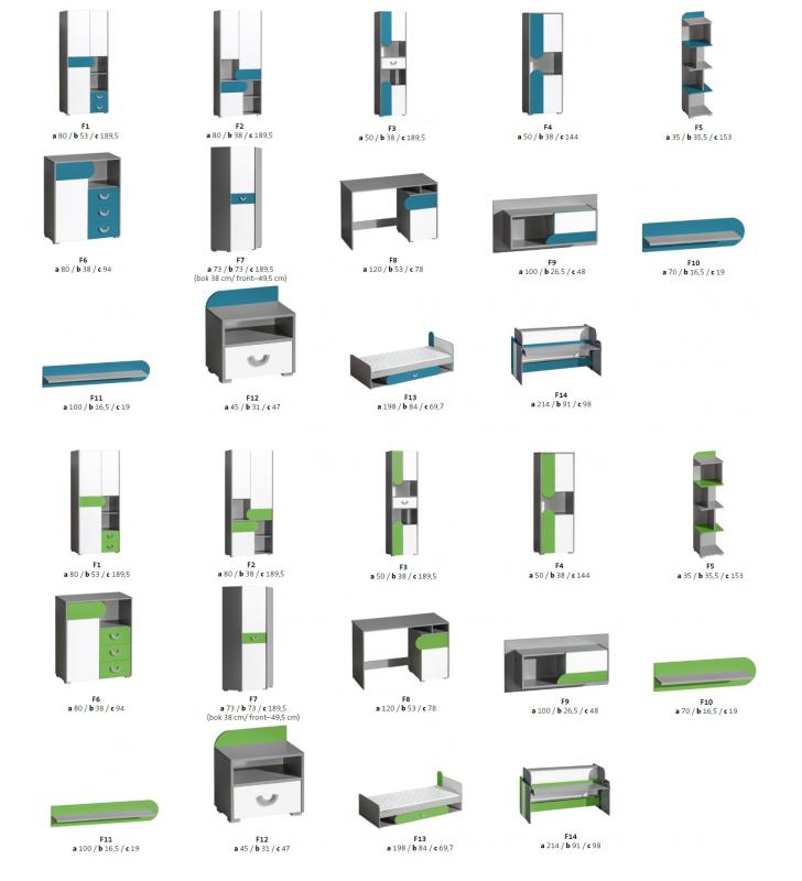 Łóżko w różnych kombinacjach kolorystycznych do pokoju starszego dziecka FUTURO F13