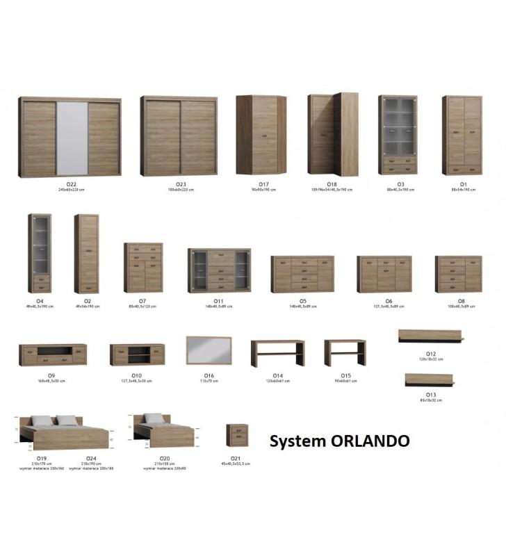 """Brązowa szafa narożna typu """"L"""" w stylu nowoczesnym Orlando O-18"""