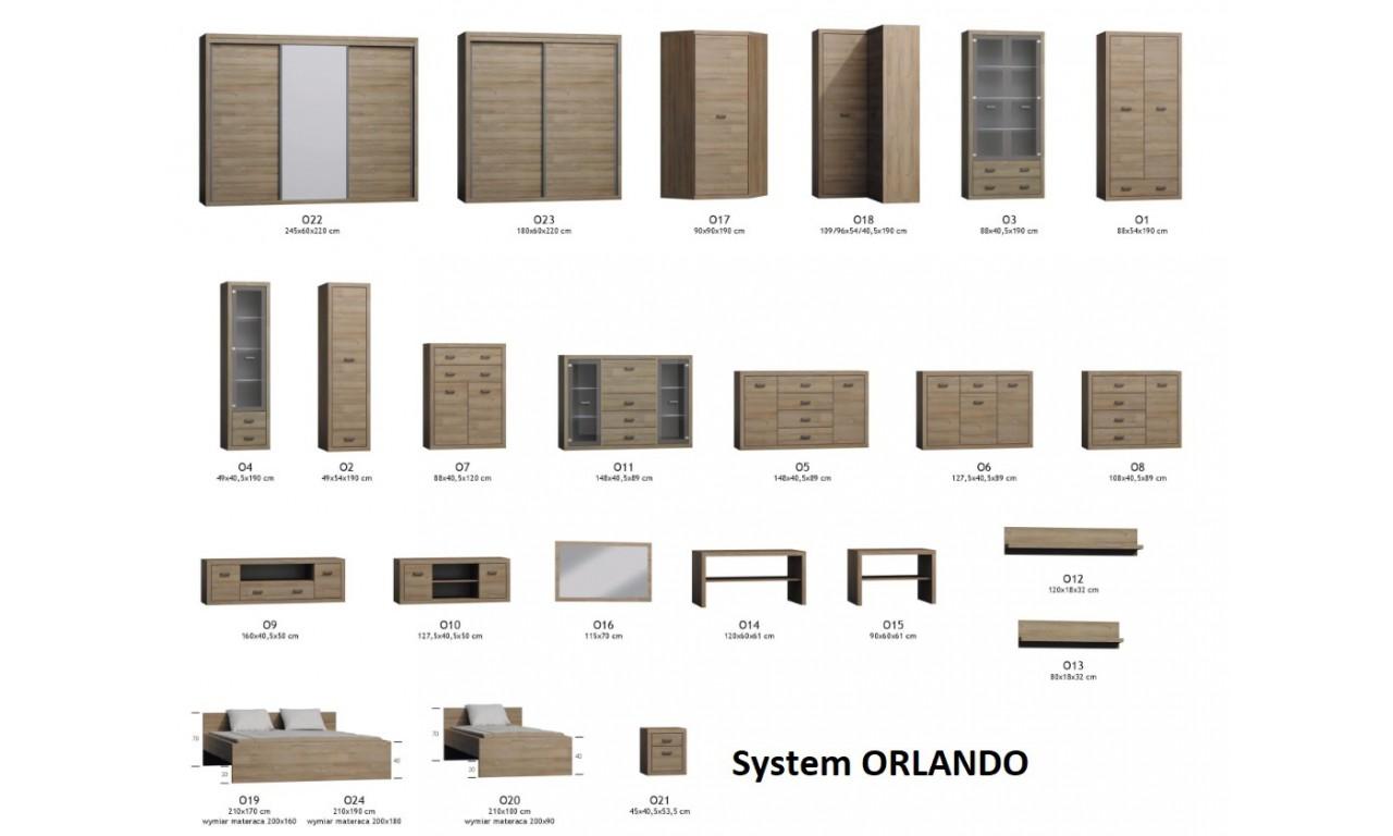 Brązowa, szeroka komoda  w stylu nowoczesnym Orlando O-5