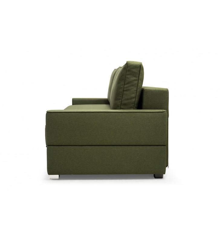 Zielona sofa Suzana, z funkcją spania i pojemnikiem na pościel