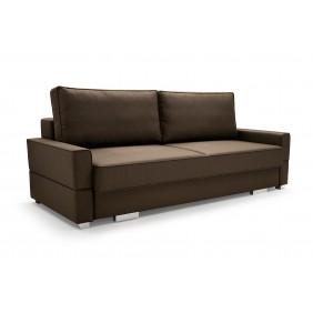 Brązowa sofa Suzana, z funkcją spania i pojemnikiem na pościel