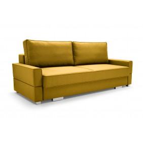 Żółta sofa Suzana, z funkcją spania i pojemnikiem na pościel