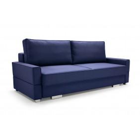 Niebieska sofa Suzana, z funkcją spania i pojemnikiem na pościel