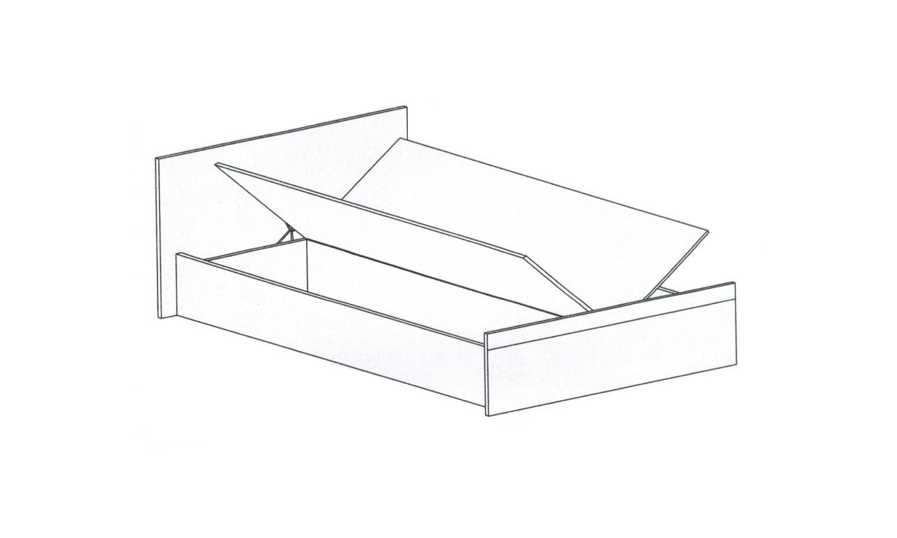 Łóżko (140x200 cm) z pojemnikiem na pościel Luxor 23