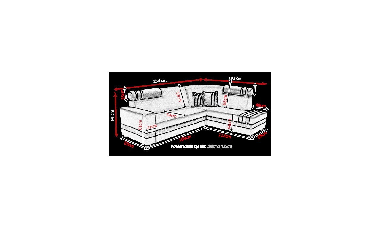 Turkusowy narożnik z funkcją spania i pojemnikiem na pościel R-1 (inari87+soft17)