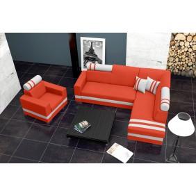 Pomarańczowy narożnik z funkcją spania i pojemnikiem na pościel KN45hc51s17