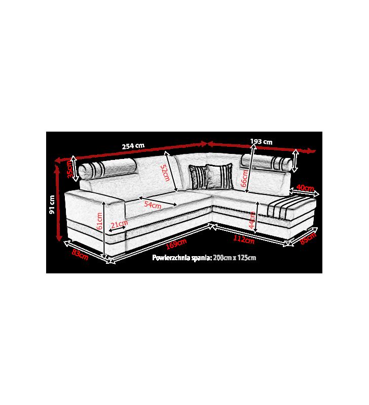 Pomarańczowy narożnik z funkcją spania i pojemnikiem na pościel R-1 (HC51+soft11)
