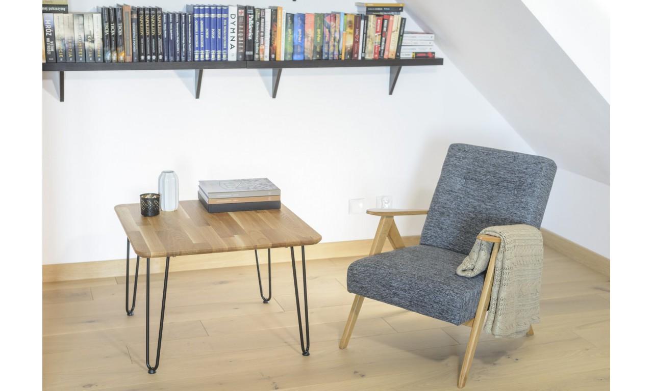 Stolik kawowy dębowy (rustykalny) ze stalowymi nóżkami, 70x70 cm, wys. 49 cm Iron Oak